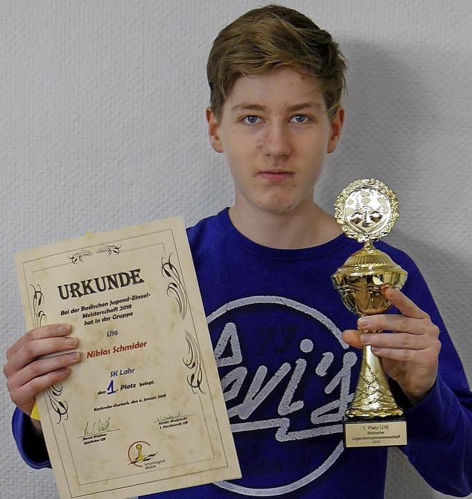 Niklas Schmider nach dem Gewinn der Badischen Jugendmeisterschaft.  | Foto: Privat