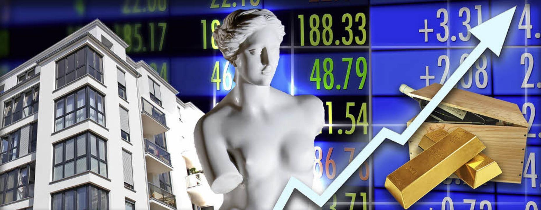 Möglichkeiten, Geld anzulegen gibt es ...ahren waren Aktien am ertragreichsten.    Foto: Fotos: adobe.com/Montage:zel