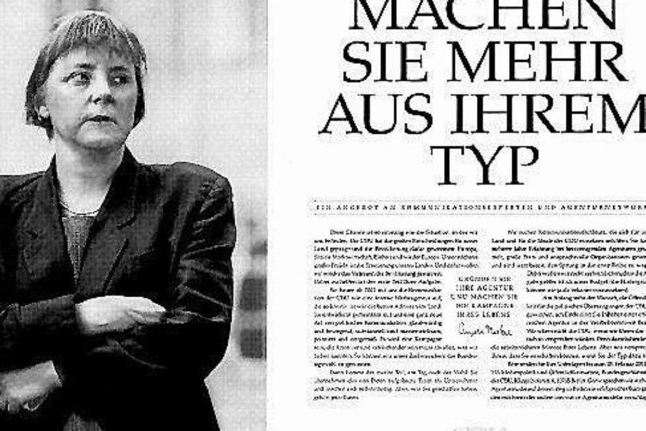 Die CDU sucht Werbefachleute für den anstehenden Bundestagswahlkampf. Mit dieser Anzeige von 2001 bewies Merkel Humor, bevor sie zur Kanzlerin wurde. (Foto: -)