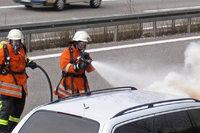 Brennendes Auto auf der A 5 gelöscht
