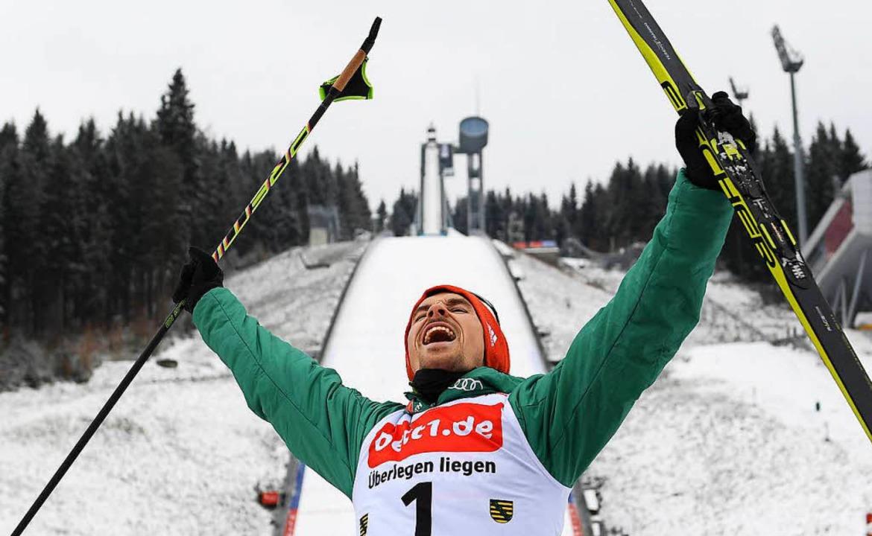 Starker Auftritt in Klingenthal: Fabian Rießle von der Skizunft Breitnau  | Foto: dpa
