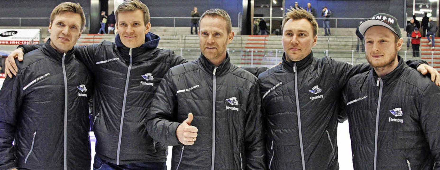 Die Spieler (von links)  Jussi Timonen... Saison für die Wild Wings auflaufen.   | Foto: Wittmann