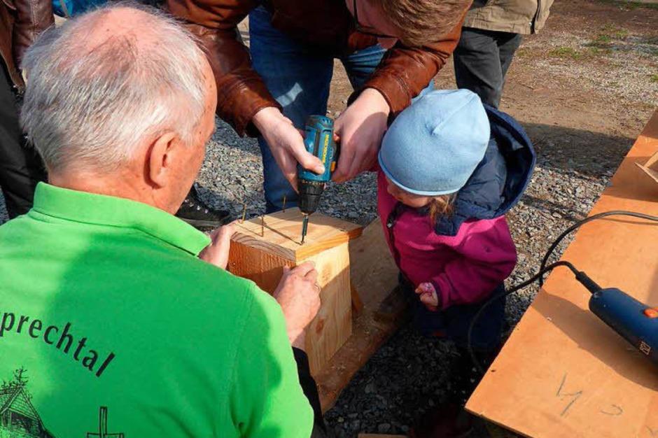 Mit Robert Weiner vom Schwarzwaldverein konnte man Nistkästen bauen. (Foto: Roland Gutjahr)
