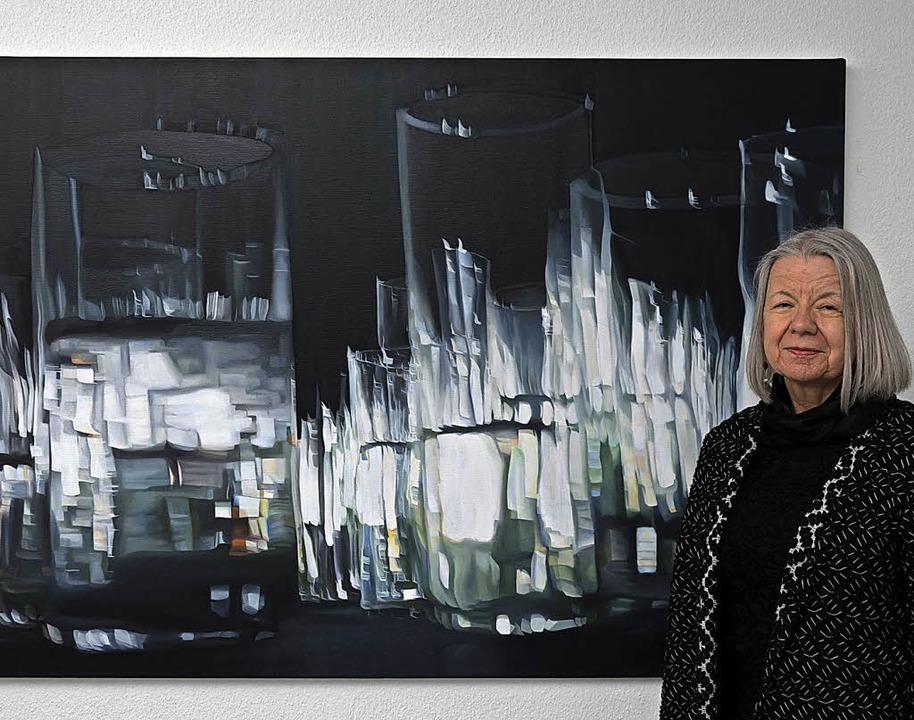 Spiegelungen, die beim Zusammentreffen...d  Thema der Ölbilder von Petra Frey.   | Foto: Helmut RohtHermel