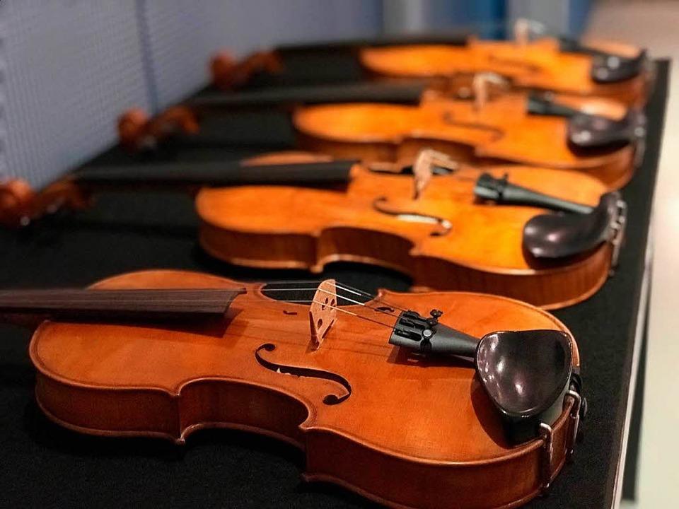 Vier Geigen in einer Reihe.   | Foto: dpa