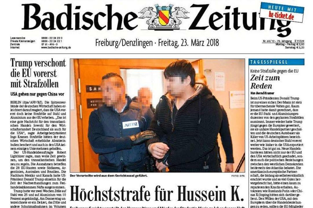 Die Titelseite der Badischen Zeitung a...ach seiner Verurteilung nicht gezeigt.  | Foto: Screenshot