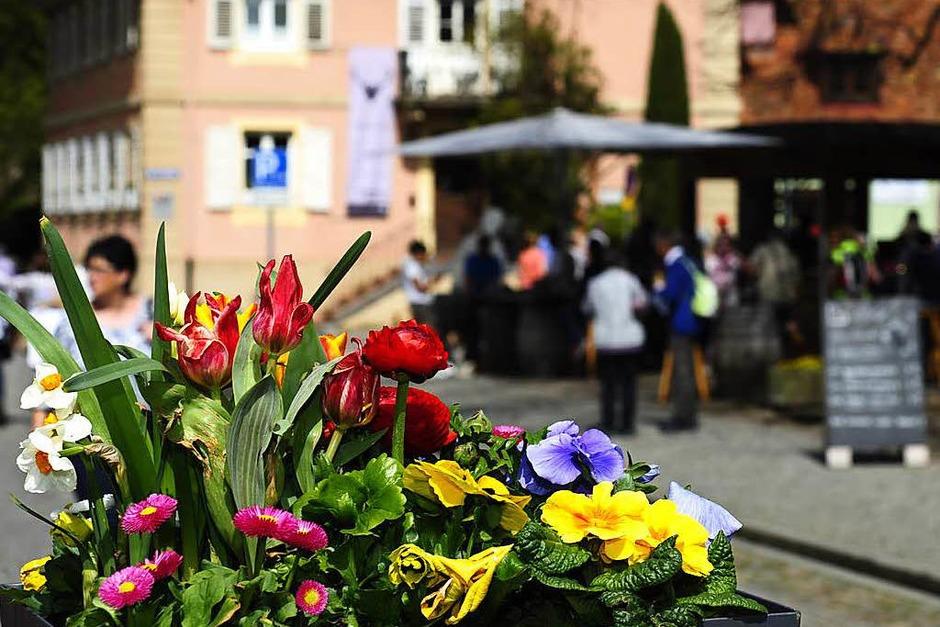 """Dank Sommertemperaturen herrschte ein Riesenansturm auf den verkaufsoffenen Sonntag """"Blühendes Staufen"""". Für die beiden großen Schauen mit der aktuellen Frühjahrs- und Sommermode gab es viel Applaus. (Foto: Bernhard Seitz)"""
