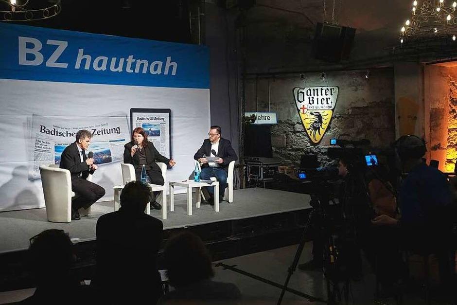 Monika Stein im Gespräch mit Uwe Mauch (links) und Holger Knöferl (Foto: Miroslav Dakov)
