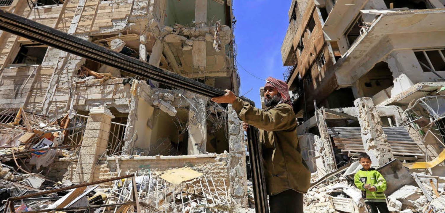 Dieses Foto entstand, als die syrische...n Duma bis Montag noch keinen Zugang.   | Foto: AFP