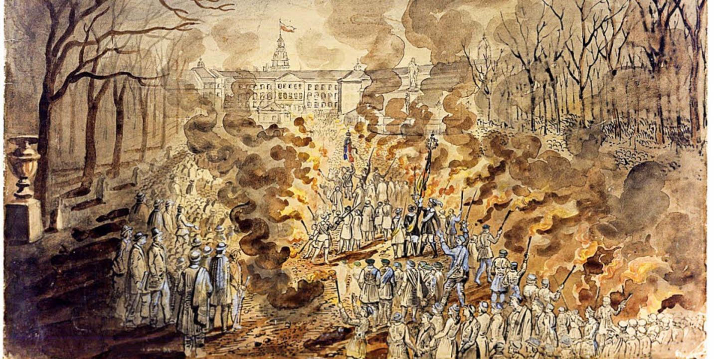 L v. Elliot: Fackelzug der Studenten , 1.3.1848 Foto: Landesmuseum  | Foto: keiner