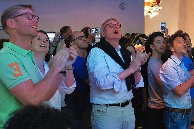 So feiern die drei OB-Spitzenkandidaten das Wahlergebnis