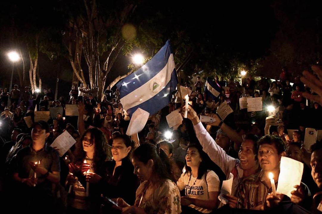 Nicaraguaner, die im Nachbarland Costa...solidarisieren sich mit den Protesten.  | Foto: AFP