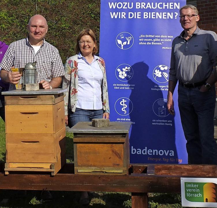 Jung-und Altimker treffen sich nun wöchentlich auf dem Gelände der Badenova. | Foto: Martina David-Wenk/Sebastian Kahnert (dpa)