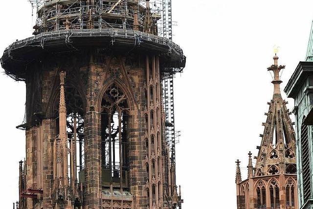 Freiburger Münsterturm nach zwölf Jahren bald ohne Gerüst zu sehen