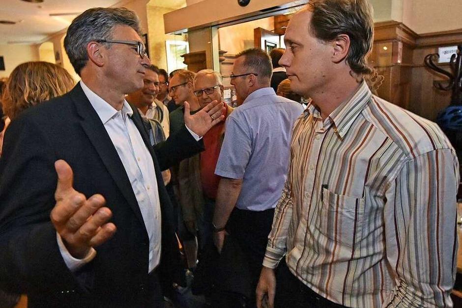 Manfred Kröber, ausgeschiedener grüner OB-Kandidat, und Dieter Salomon. (Foto: Michael Bamberger)