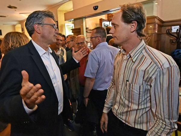 Manfred Kröber, ausgeschiedener grüner OB-Kandidat, und Dieter Salomon.