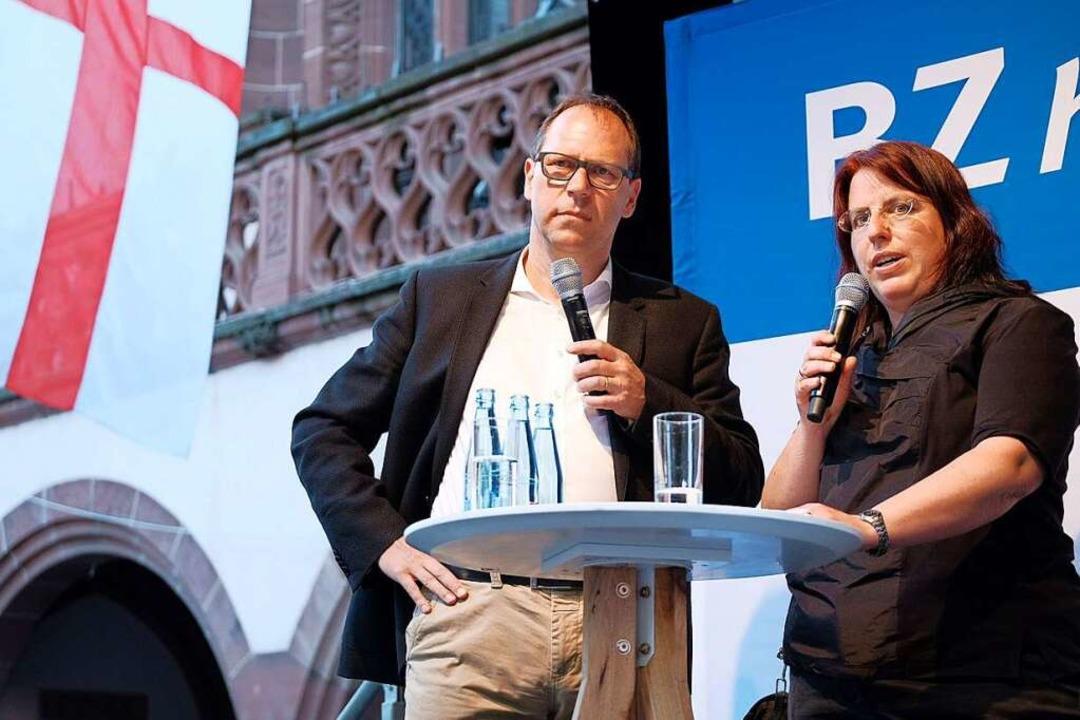 Monika Stein im Gespräch mit BZ-Chefre... starken Ergebnis im zweiten Wahlgang.  | Foto: Miroslav Dakov