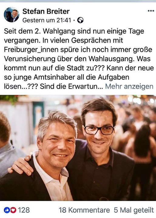 Der Post des Finanzbürgermeisters bei Facebook   | Foto: screenshot: BZ