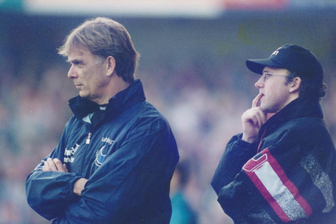 Die Macher eines Fußballmärchens: Volk...nks) und sein Assistent Achim Sarstedt  | Foto: Albert Josef Schmidt