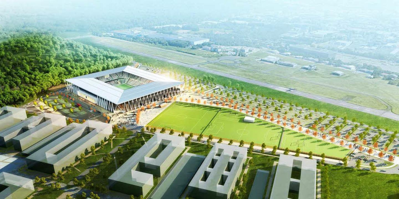Geplant ist das neue SC-Stadion für di...s auf der rechten Seite gebaut werden.  | Foto: HPP Architekten/WillMore