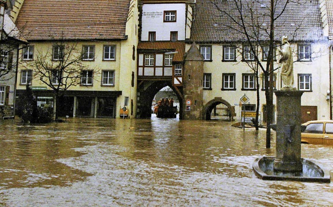 Beim Hochwasser 1990 war kein Wasser im Brunnen, sondern nur außen herum.     Foto: Dagobert Maier