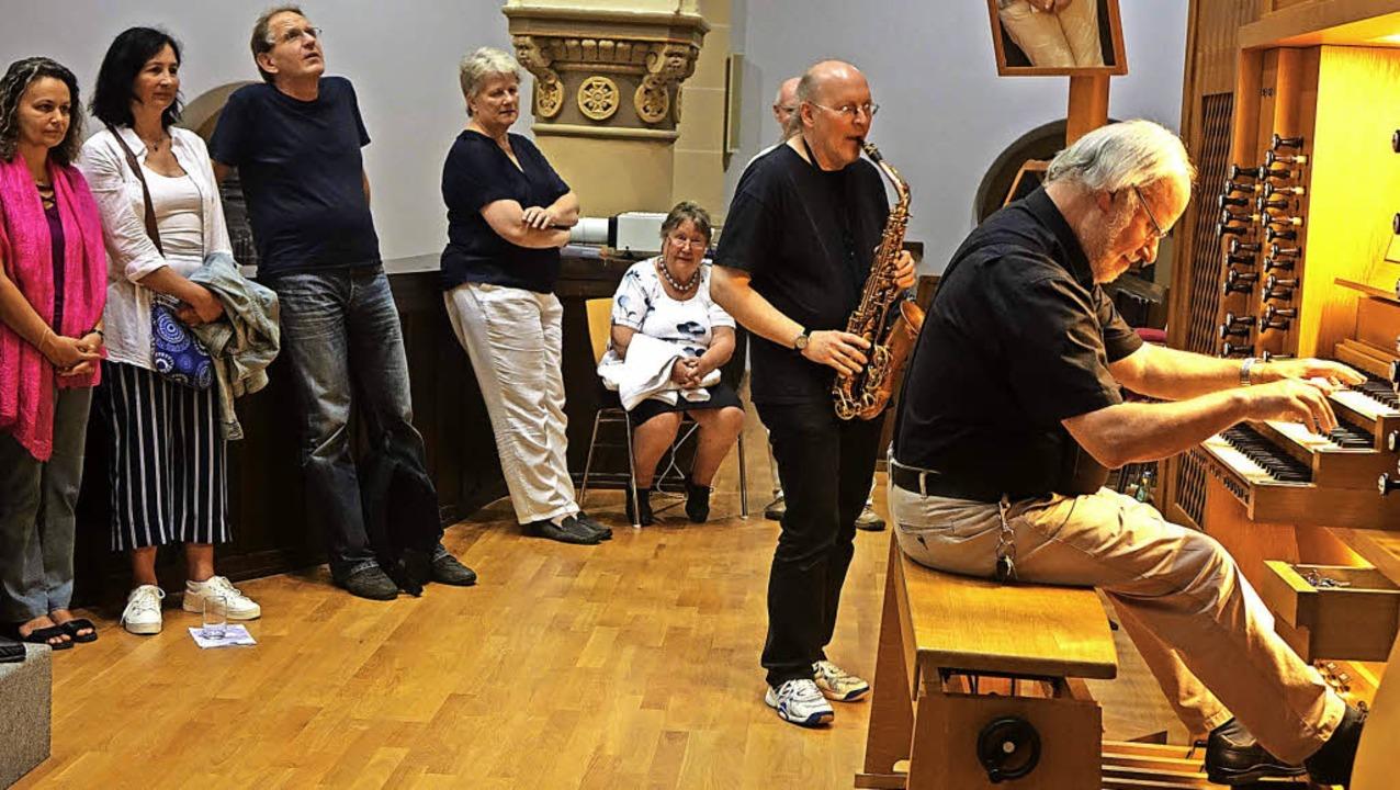 Mit Jazzigem für Orgel und Saxophon br...elnacht in der Kirche St. Bonifatius.   | Foto: Roswitha Frey