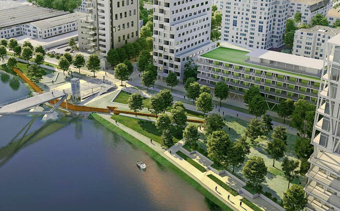 Hüningen will das Rheinufer auf der Hö...#8220; zu einem Eingangstor gestalten.  | Foto: VisuAlisierungen: IBA Basel