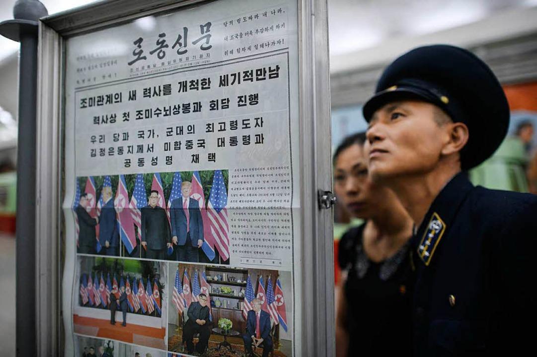 Das Gipfeltreffen ist Thema in den nordkoreanischen Zeitungen.  | Foto: AFP