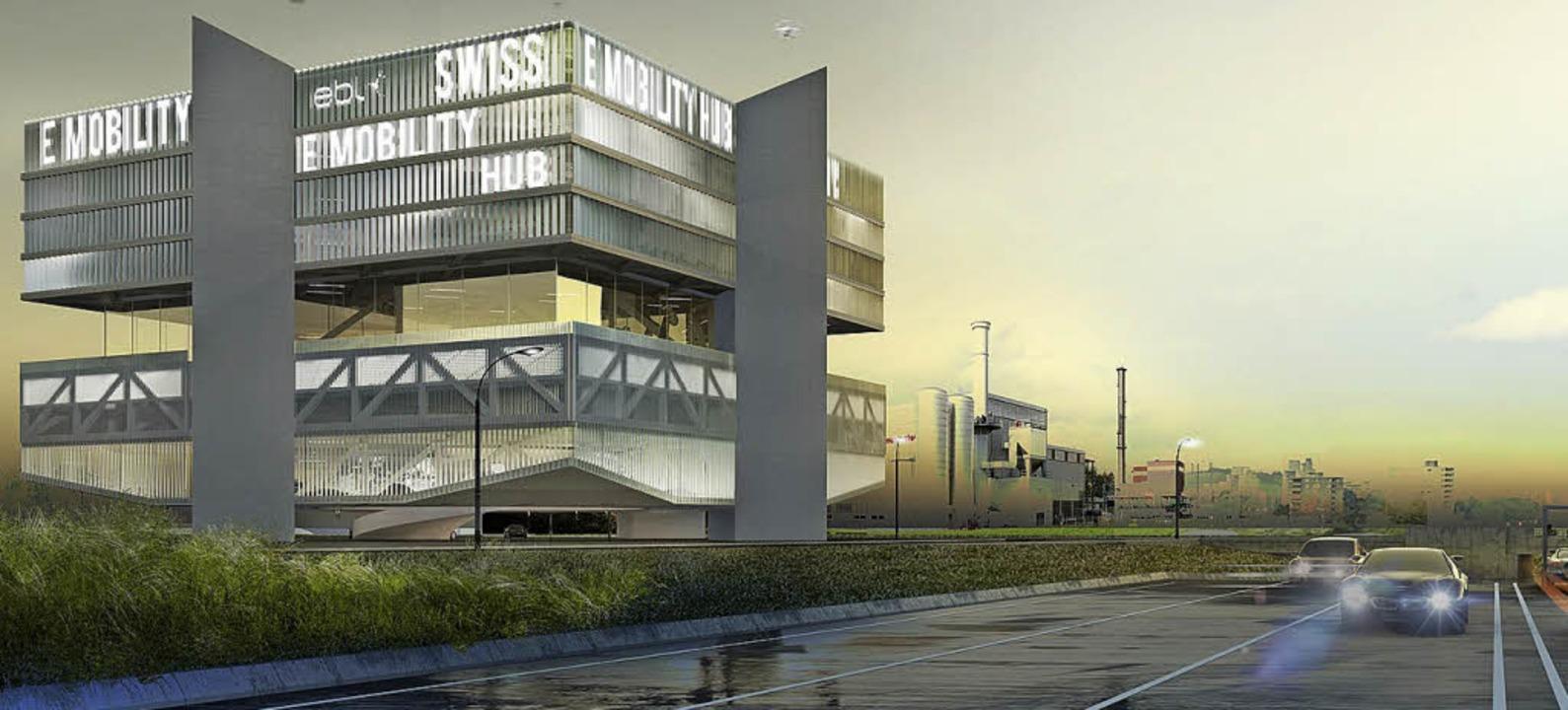 "So soll der ""Swiss E-Mobility-Hub"" aussehen.   | Foto: Visualisierung: EBL"