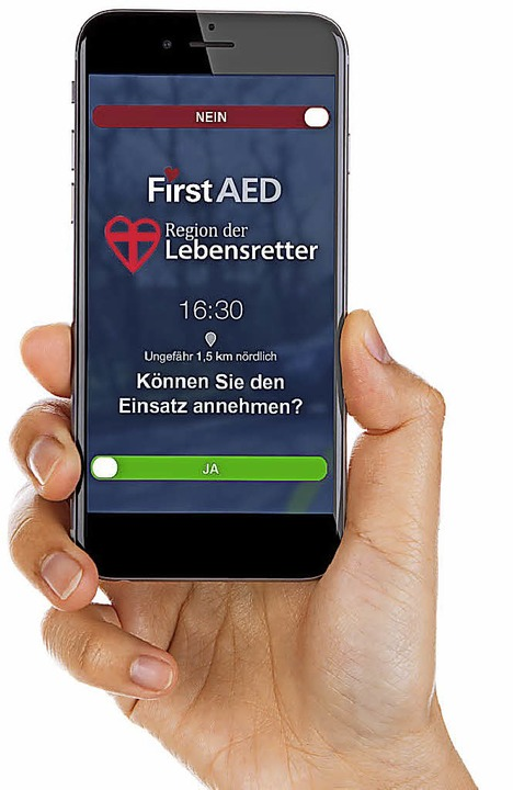 Mit der App FirstAED des Vereins &quot...Herz-Kreislauf-Kollaps zusammenbricht.  | Foto: Region der Lebensretter