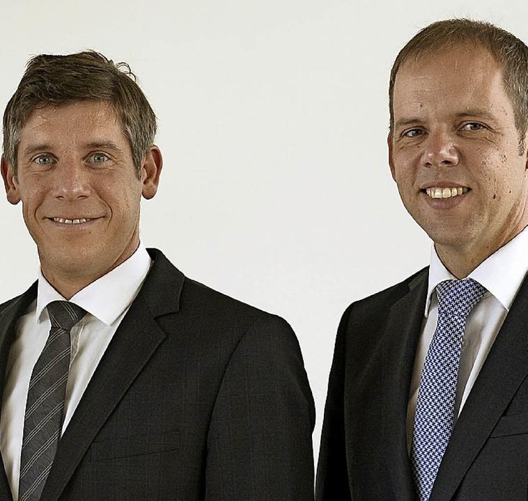 Marc Ullrich (links) und Jörg Straub s... Baugenossenschaft Bauverein Breisgau.  | Foto: Ingo Schneider