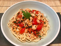 Crevetten-Tomaten-Ragout mit Spaghetti – ein ausgefallenes Sommeressen