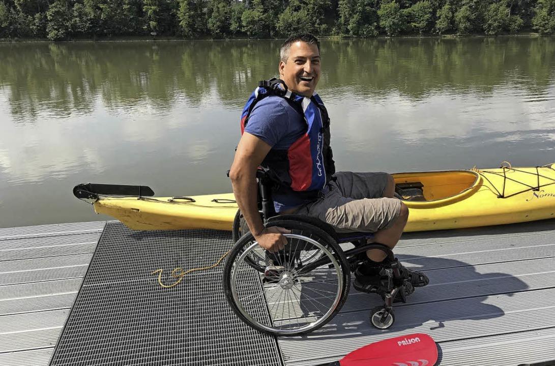 Björn Kelz von den Rolli Raudis freut sich auf den Handicap-Triathlon.  | Foto: Peter Kanele