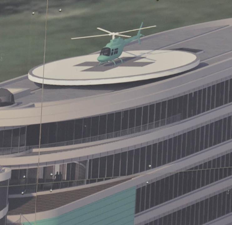 Auf dem Dach des neuen Firmengebäudes soll der Hubschrauber landen können.   | Foto: Animation:Firma Junker