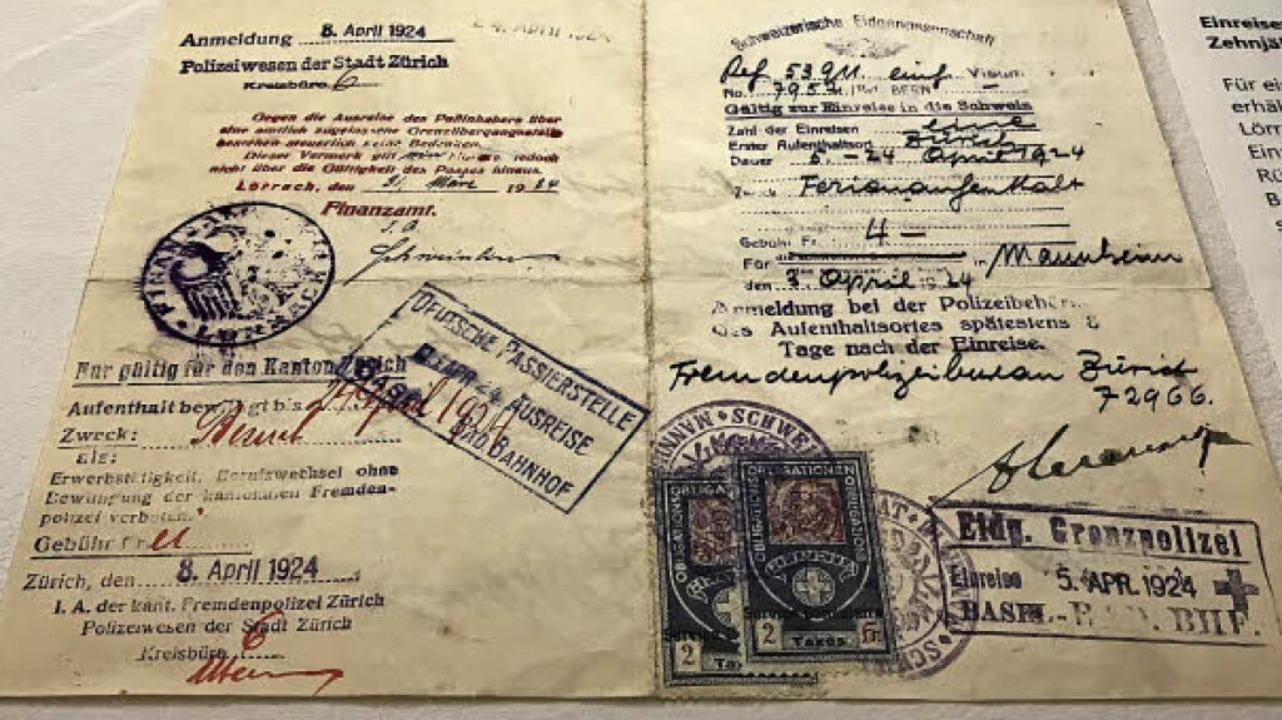 Ausstellungsstück: Einreisevisum für e...zehnjährigen Badener aus dem Jahr 1924  | Foto: Dreiländermuseum