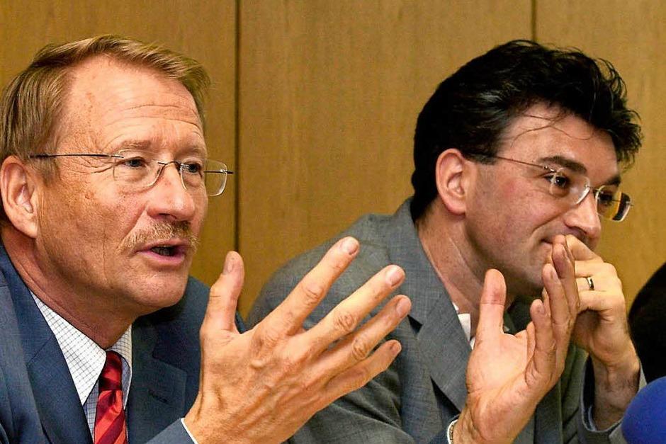 Vor seiner Zeit als Oberbürgermeister war Dieter Salomon Fraktionschef der Grünen im baden-württembergischen Landtag. Hier mit SPD-Fraktionschef Wolfgang Drexler. (Foto: Norbert Försterling)