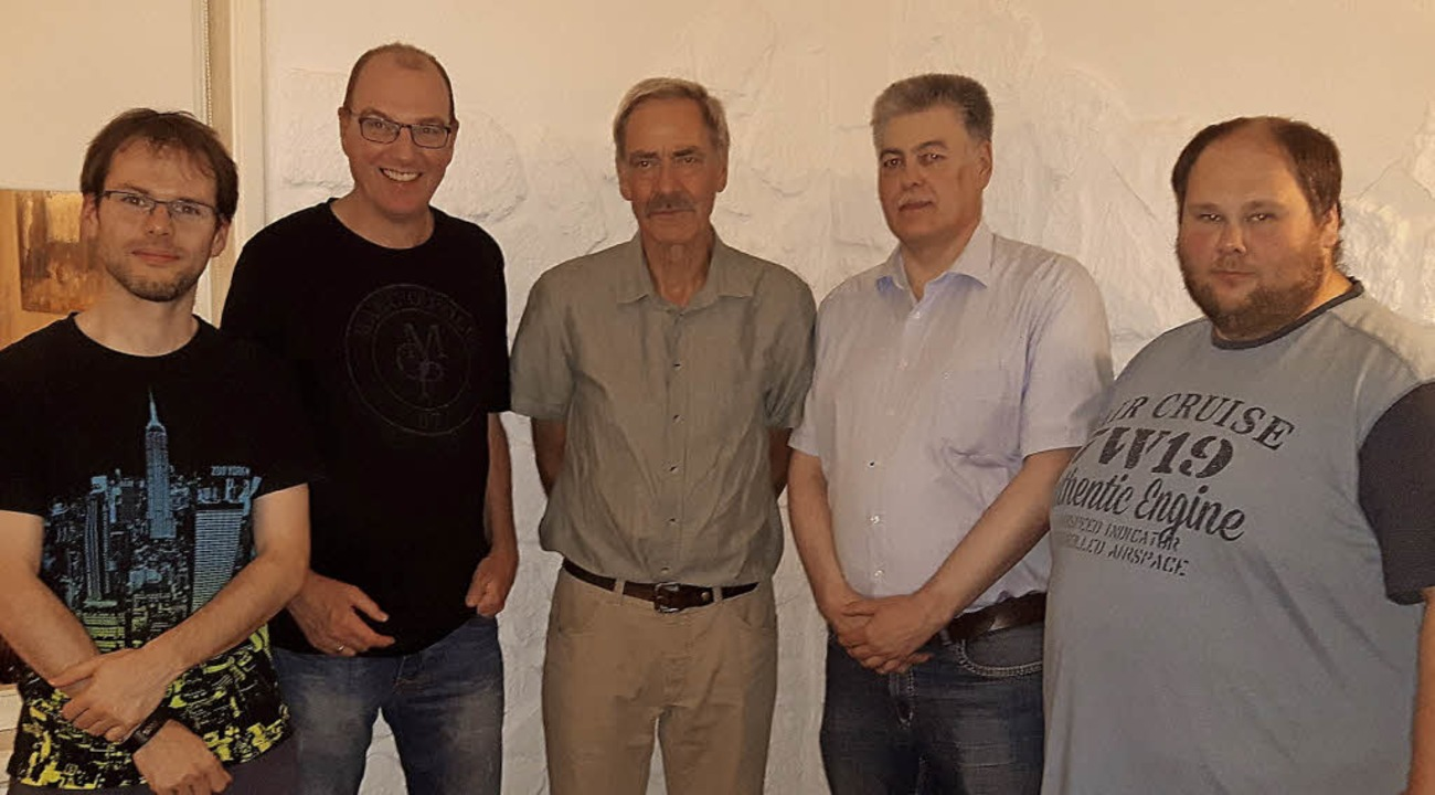 Das Führungsquartett mit dem scheidend...ach-Wyhlen), Kai-Uwe Marx (TTC Hasel)     Foto: Scheibengruber