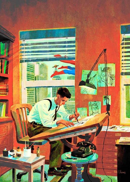 Das Titelbild der Comicbiographie zeigt Joe Shuster  | Foto: Carlsen