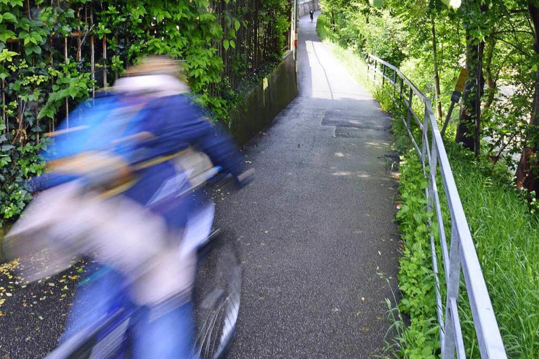 Schnell geht es an den Radvorrangrouten in Freiburg zu.   | Foto: M. Bamberger