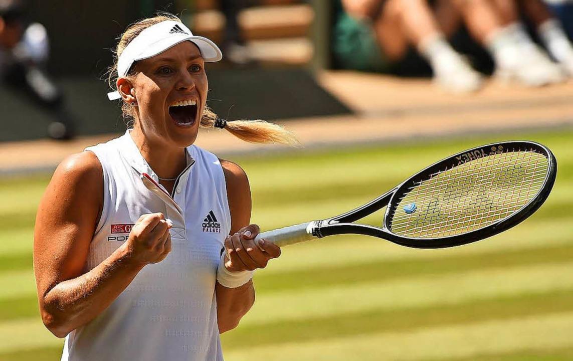 Angelique Kerber steht im Wimbledon-Finale – und freut sich darüber  | Foto: AFP