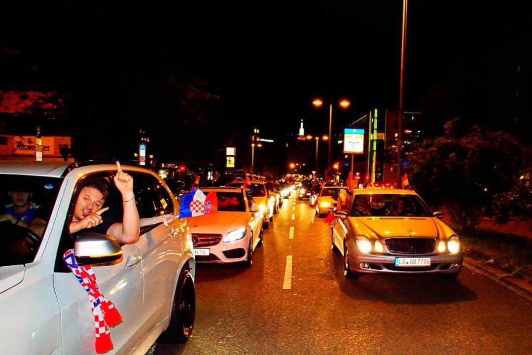 Autokorso in Stuttgart    Foto: dpa