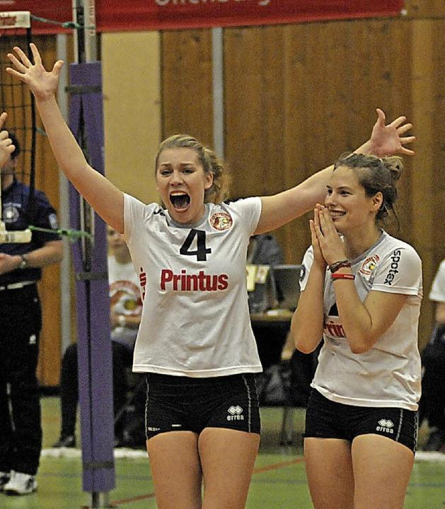 <BZ-FotoAnlauf>Volleyball:</BZ-FotoAnl...wieder  im Offenburger Dress  jubeln.   | Foto:  Sek
