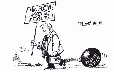 Amerikanischer Menschenrechtsaktivist auf dem Weg zu Wladimir Putin Zeichnung: Haitzinger