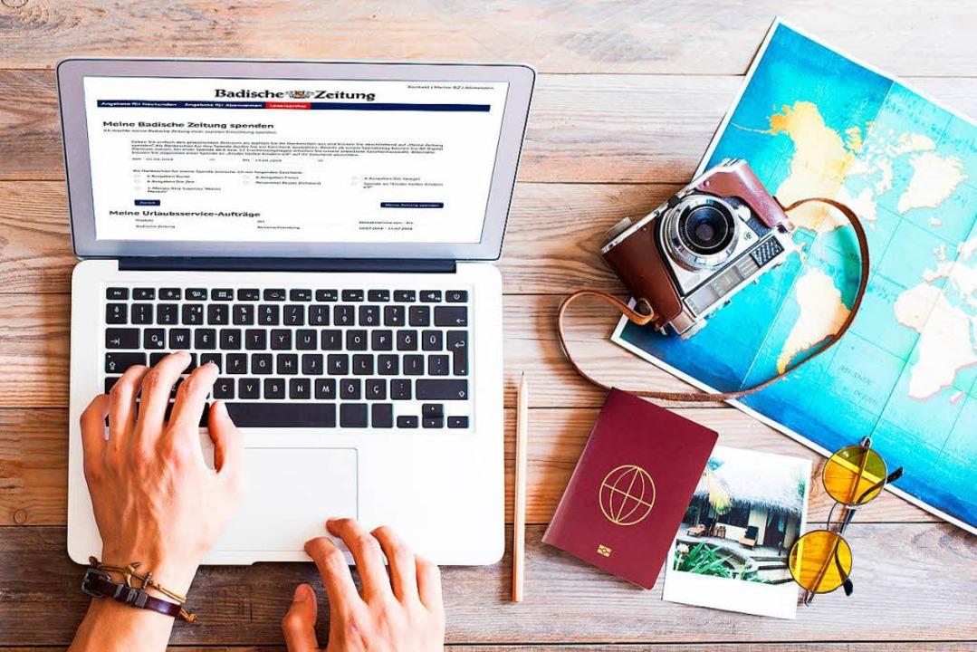 Nehmen Sie die digitale BZ doch mit in den Urlaub!   | Foto: sebra (Fotolia.com) / Fotomontage bz