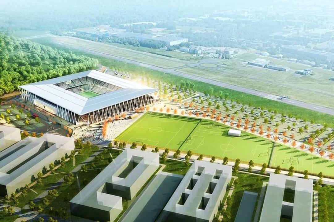 Geplant wurde das SC-Stadion links der Start- und Landebahn des Flugplatzes.    Foto: HPP Architekten/WillMore