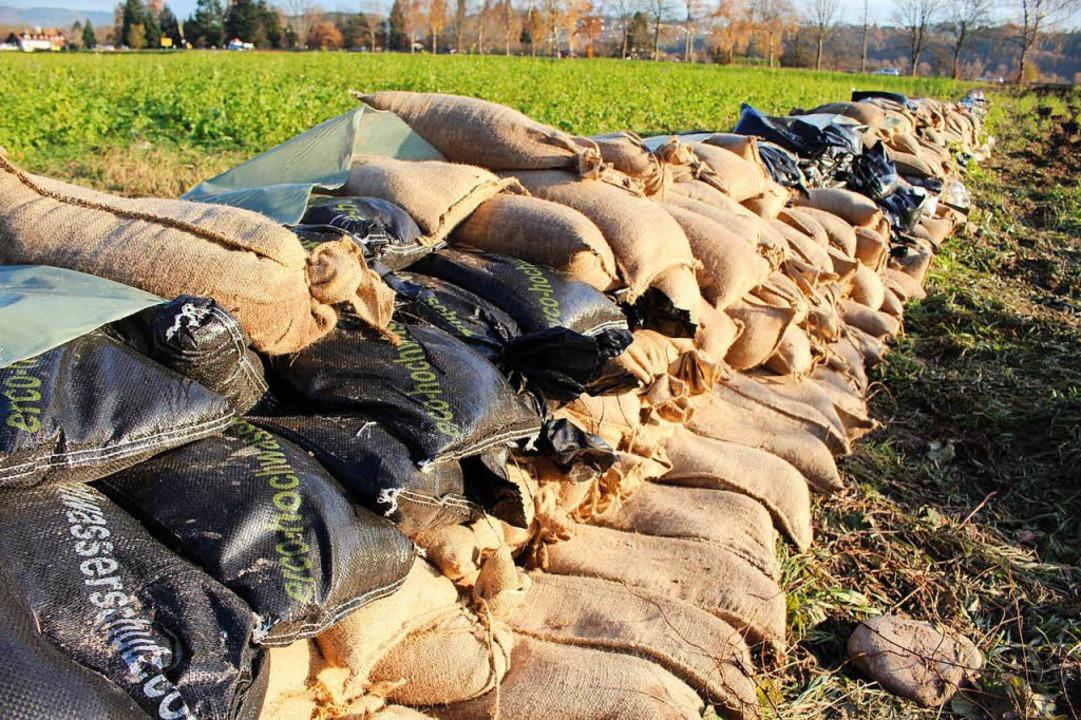 Sandsäcke bieten  einen effektiven Schutz bei Hochwasser.  | Foto: Archiv: Bertsch