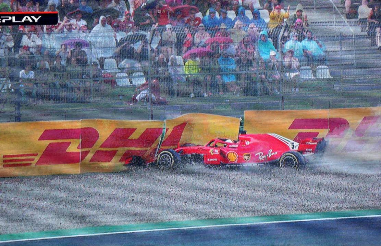 Sebastian Vettel rutschte im Regen von...Hockenheim hatte er noch nie gewonnen.  | Foto: dpa