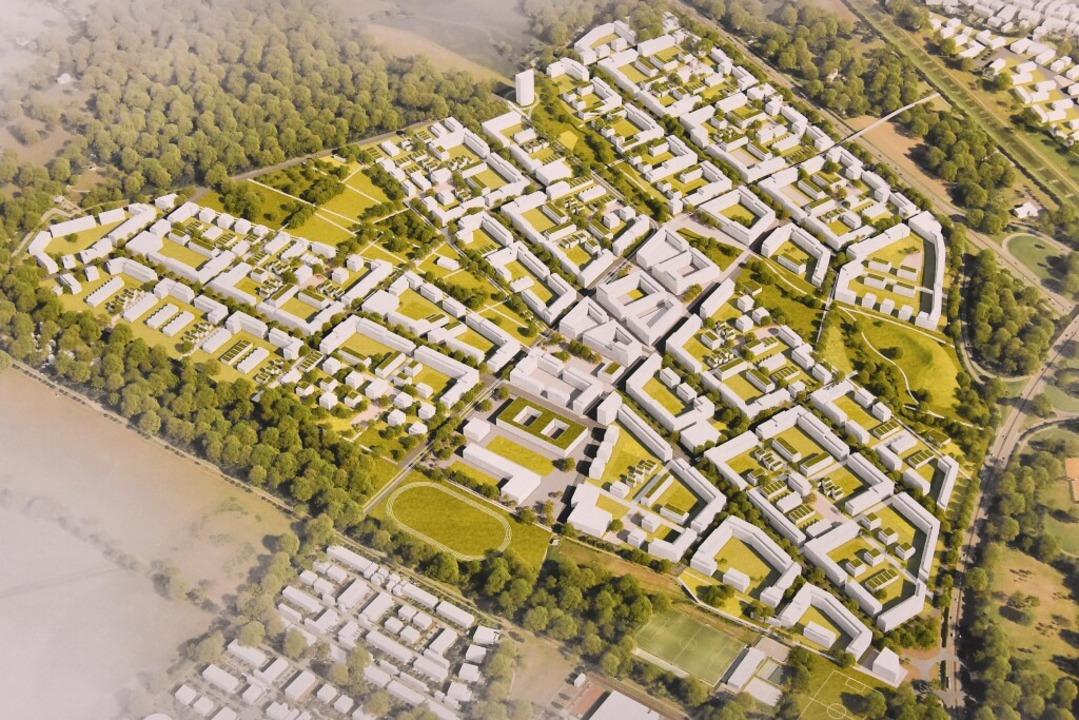 Das Modell für den Stadtteil Dietenbach    Foto: Michael Bamberger