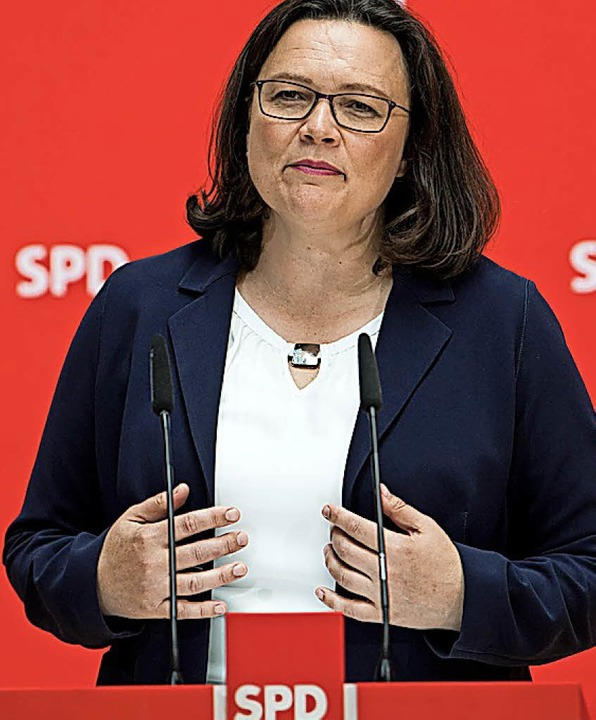 Seit 100 Tagen Parteichefin: Andrea Nahles.  | Foto:  dpa