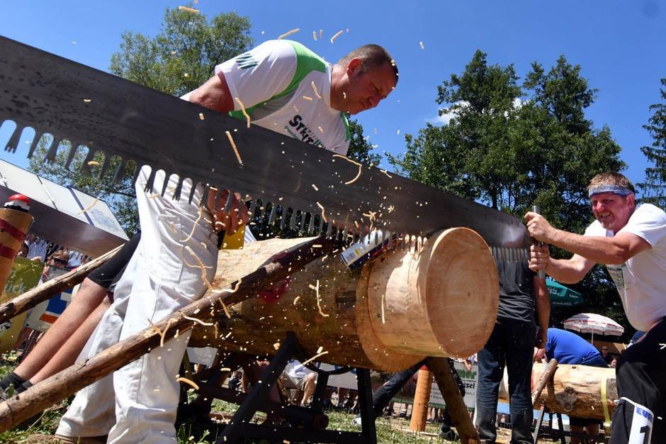 Kraft und Technik zählen bei den Wettkämpfen der Holzfäller, die viele Zuschauer interessiert verfolgten. (Foto: Wolfgang Künstle)